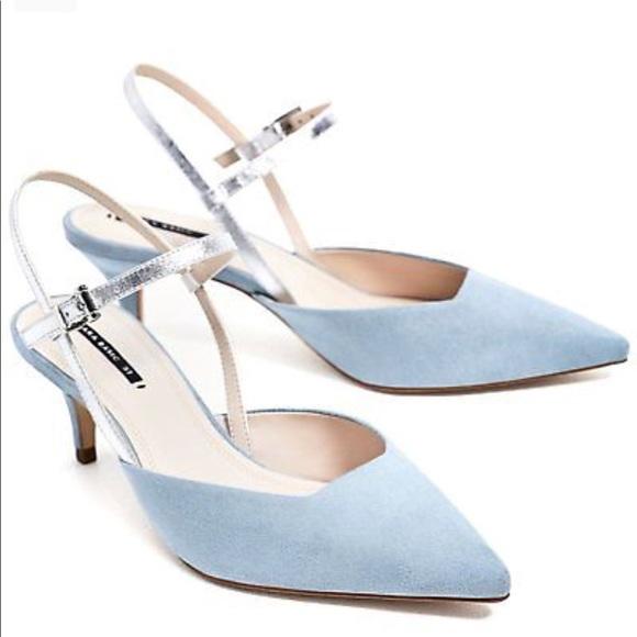 36bf4b91f13 NWT Zara Baby Blue Contrasting Slingback Heels
